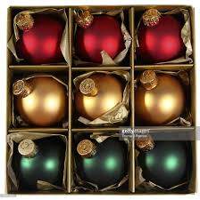 box of ornaments baubles stock photo getty images