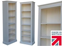 tall narrow white bookcase traditional cream painted bookcase 6ft x 2ft solid wood tall