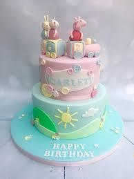 peppa pig cakes 2 tier barrel peppa pig cake with handmade figures