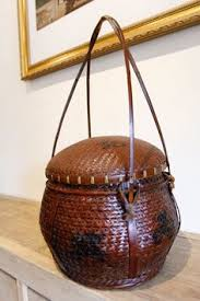 Antique Chinese Willow Basket Vintage Wooden By Strangeimportsllc