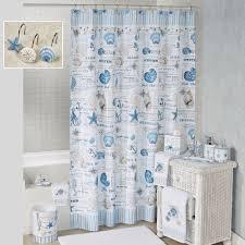 Seashell Shower Curtains Island View Blue Seashell Coastal Shower Curtain