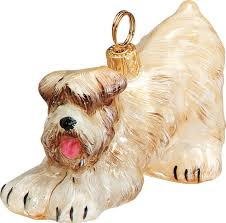 soft coated wheaten terrier play bow ornament