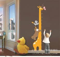 lovely bear giraffe wall sticker kids baby height children home