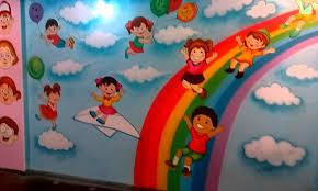 preschool playschool classroom wall theme painting mumbai india