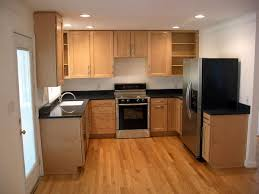 u shaped kitchen designs with island wood pull out trash can