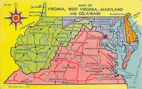 virginia map postcardy the postcard explorer map virginia west virginia