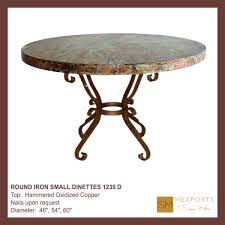 080 round iron small dinette scalloped mesquite wood top mod 1239