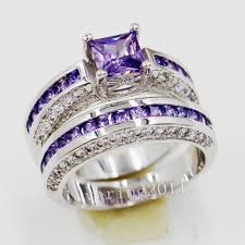 large amethyst diamond white gold jewelry rings amethyst wedding rings for women purple ring sets