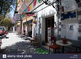 quaint chihuahua street in roma norte in mexico city df stock