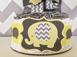 yellow and gray baby shower chevron elephant cake yellow yellow and gray baby shower
