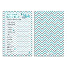 teal blue and gray elephant word scramble baby shower game set of
