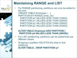 Alter Table Add Partition Maintaining Range And List For