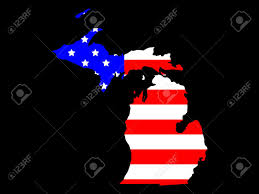 Map Of State Of Michigan by Map Of The State Of Michigan And American Flag Stock Photo