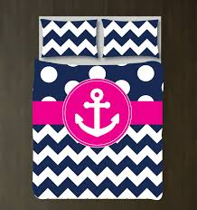 custom nautical duvet bedding set navy blue white polka dots u0026