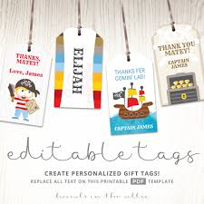 pirate theme birthday party gift tags editable labels party tags