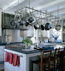 pot rack above island design ideas