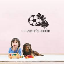 popular soccer wall decal buy cheap soccer wall decal lots from customize name football star vinyl wall decals boys soccer boots and boys name wall stickers wallpaper