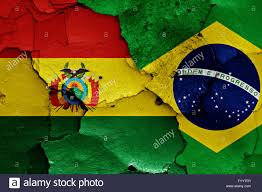 Brazil Flag Image Flags Of Bolivia And Brazil Painted On Cracked Wall Stock Photo