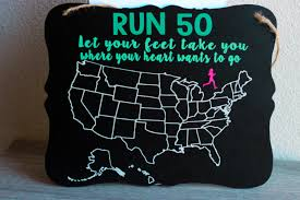 Map Your Run Run All 50 States Chalkboard Sign Running Sign United States