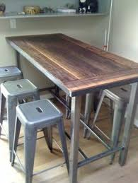 Wooden Bar Table Wood And Metal Bar Height Table Search Pinteres