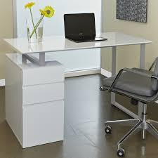 furniture white modern glass computer desk with storage and