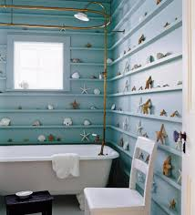 blue wall paint in modern coastal style of small bathroom