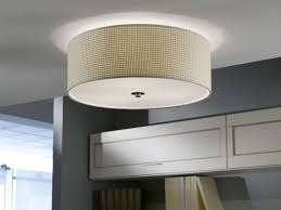 Contemporary Flush Ceiling Lights Modern Flush Ceiling Light Drum Shade Fitting With Beige