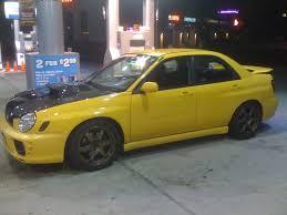 yellow subaru wrx sonic yellow wrx seibon oem 02 03 wrx hood i club