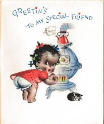 unused black americana christmas card old store stock black