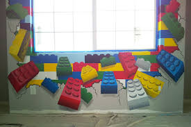 Lego Furniture For Kids Rooms by Detail From Lego Wall In Lego Themed Kid U0027s Room