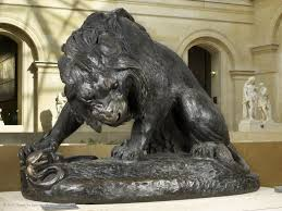 barye lion sculpture lion and serpent louvre museum
