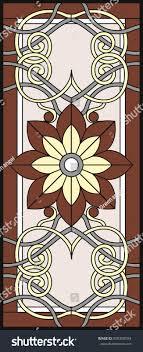 stained glass window rectangular frame flower stock vector