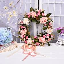 1 pcs bridal wreath artificial flower silk wedding rose flowers