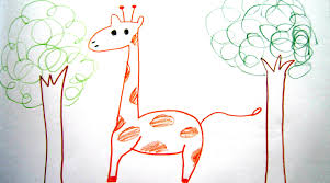 how to draw cartoon giraffe and trees 畫卡通長頸鹿 easy drawing