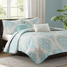 turquoise quilted coverlet senna aqua quilted coverlet set by intelligent design free shipping