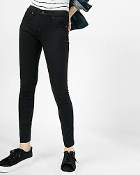black mid rise stretch jean express