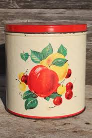 century vintage metal kitchen canisters w bright fruit print