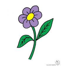 fiori disegni disegno di fiore con foglie a colori per bambini