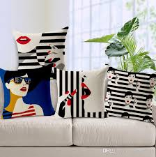Home Decor Cushions Fashion Women Cushion Cover Sexy Red Lips Pillow Case Black And