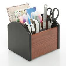 Wood Desk Accessories And Organizers by Amazon Com Revolving Wooden 4 Compartment Desktop Office