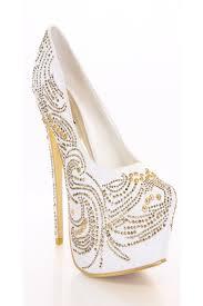 white gold rhinestone platform pump heels heel shoes online store