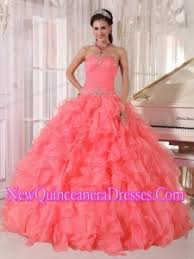 strapless watermelon red ruffles beading discount quinceanera