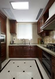 american style l shaped kitchen wood cabinets interior design