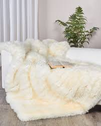 white ivory sheepskin throw blanket sheepskin town