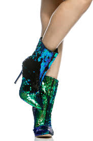 green sequin pointed toe calf length booties cicihot heel shoes