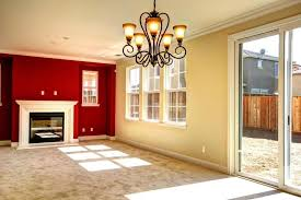 red accent wall color with pale yellow wall color using sliding