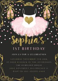 pink ballerina birthday invitation glitter and gold birthday
