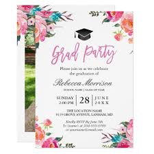 graduation cards watercolor botanical pink floral graduation party card zazzle