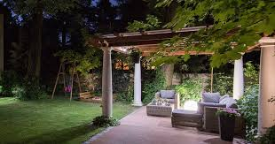 lighting the outdoor patio eating area