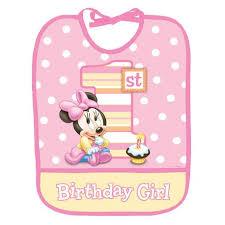 birthday bib minnie 1st birthday bib partyland new zealand s birthday party